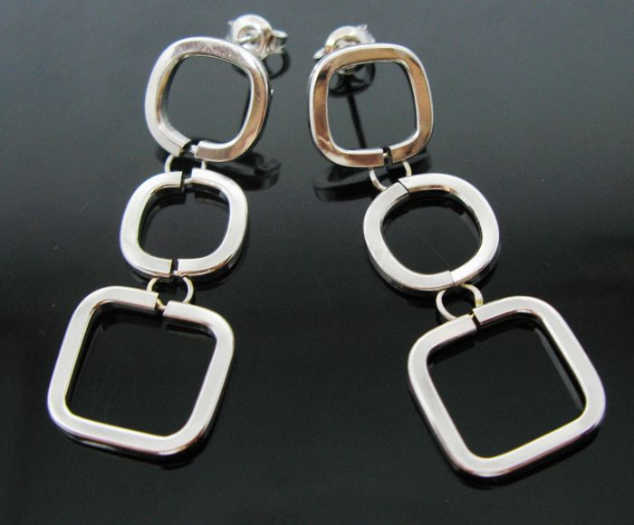 White gold 18 kt geometric pending earrings -  Lenght 4,6 cm