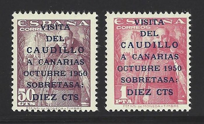 Spain 1951 - Visit of Franco to the Canary Islands, complete set - Edifil 1088/89
