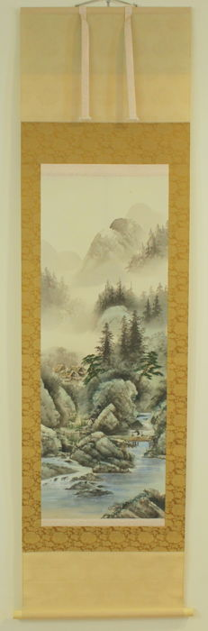 Scroll painting attributed to Mochizuki Kinpo (1846-1915) - With signature and seal 'Kinpo' 金鳳 - Stream Landscape - Japan - ca. 1900 (Meiji Period)