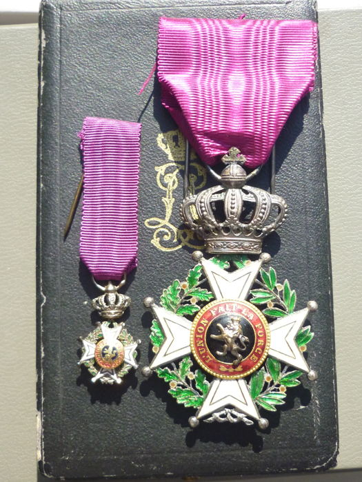 Belgium (EX) Superb set of medal order of the crown of Belgium with box