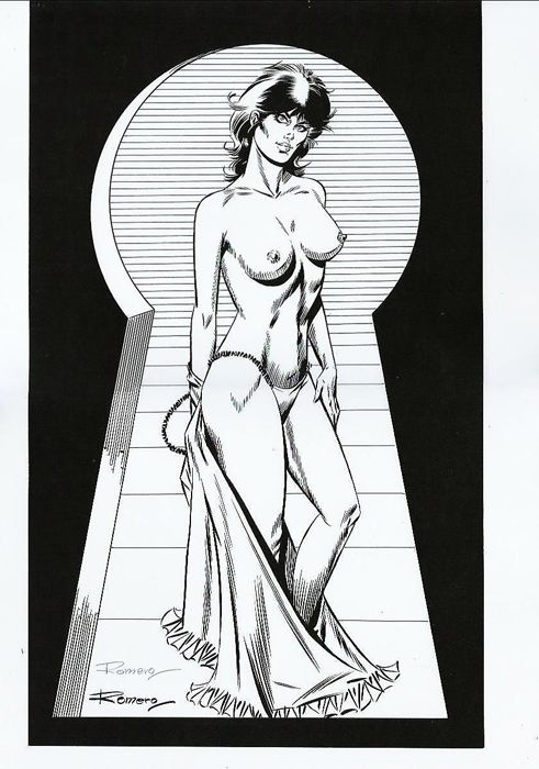 Modesty Blaise - Original print - Limited Edition - Modesty nude - Signed by Romero - First edition