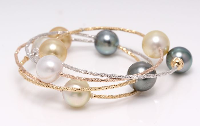 NO RESERVE PRICE - 18 kt. Tricolour Gold - 10x11mm Tahitian and South Sea Pearls - Bracelet