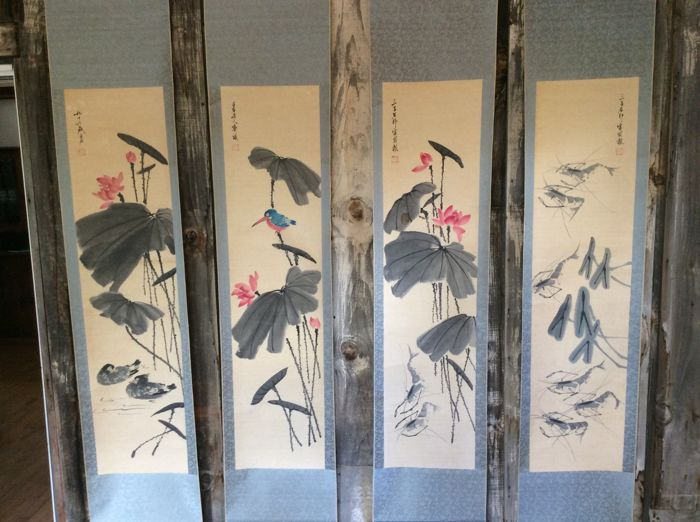 4 Scrolls painting after the original work by Master Qi Baishi - China - mid- late 20th century