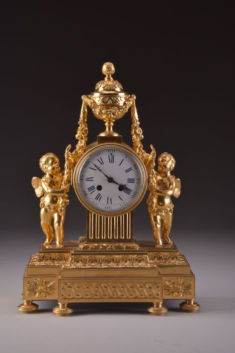 Pendulum clock - Double putti clock - Bronze (gilt/silver plated/patinated/cold painted) - Empire style