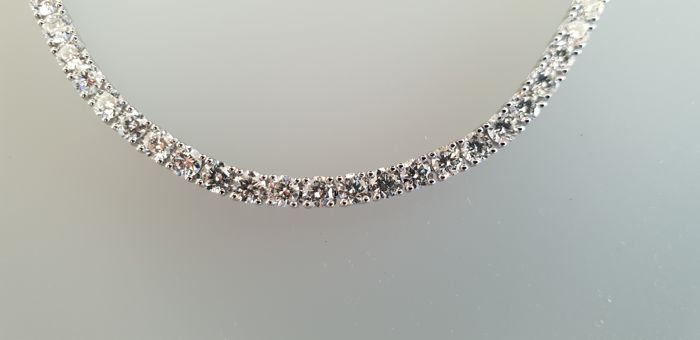 18K white gold 4,75Ct Diamond tennis bracelet size 16,5 cm