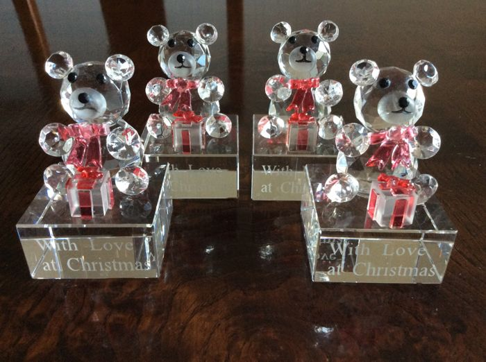 "Bear collectables ""With love at Christmas"" - 4 objects - Crystal"