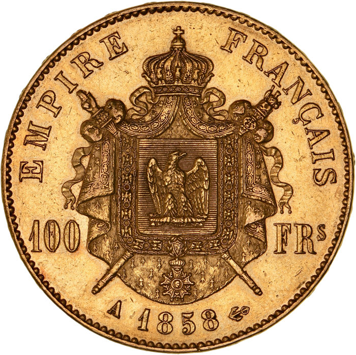 France - 100 Francs 1858-A Napoleon III - Gold