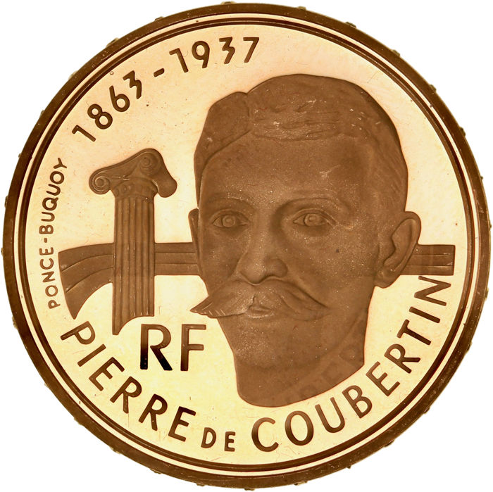 France - 500 Francs 1991 Pierre de Coubertin - Albertville 92 - Or