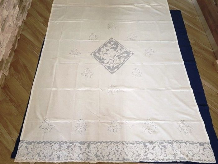 210x300cm Colore bianco - Pure linen curtain embroidered embroidery Sicilian by hand - Linen