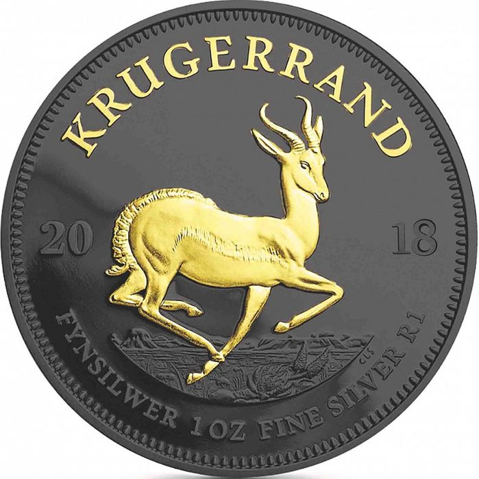 South Africa - Krugerrand 2018 - Black Ruthenium + Gilded - 1 Oz  - Silver