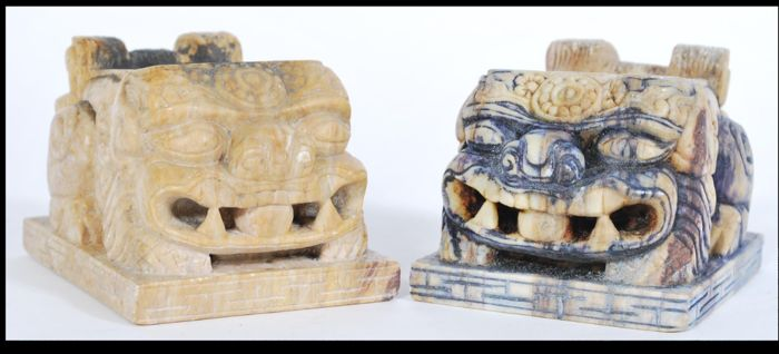 A pair of Chinese soapstone brush pots in the shape of Fu Dog temple lions - China - 2nd half 20th century