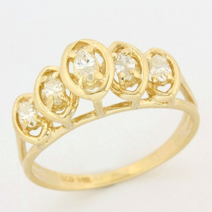 14kt Yellow Gold 0.35ct Marquise Cut Diamond Ring; Size 6.5