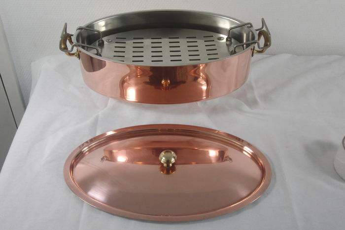 CULINOX SPRING - large oval copper pan / fish kettle with lid - copper