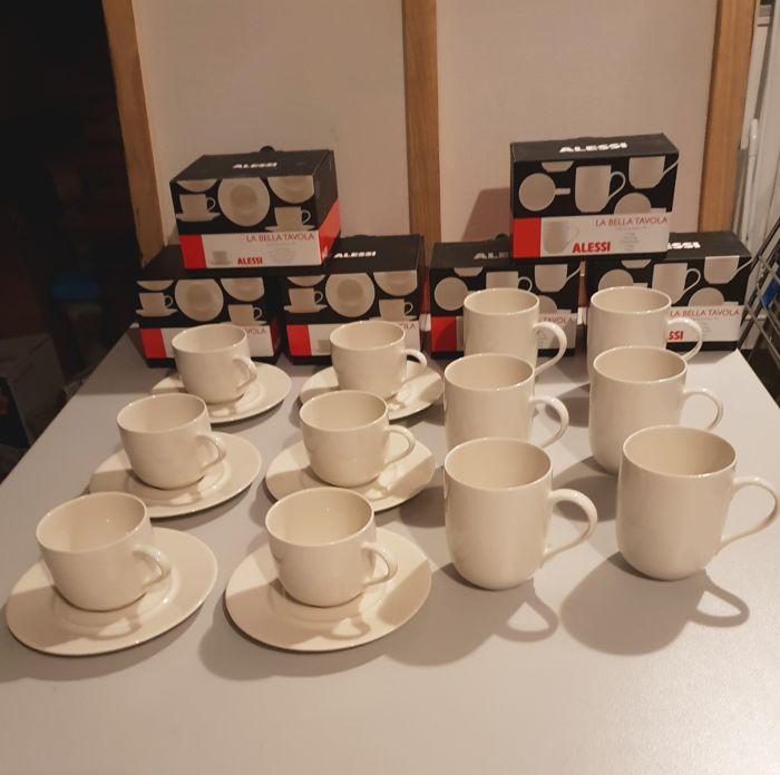 Alessi 6 cups and saucers, and 6 mugs new - Porcelain