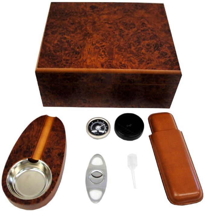 ANGELO - Humidor set for 25 cigars ashtray case cutters - 1