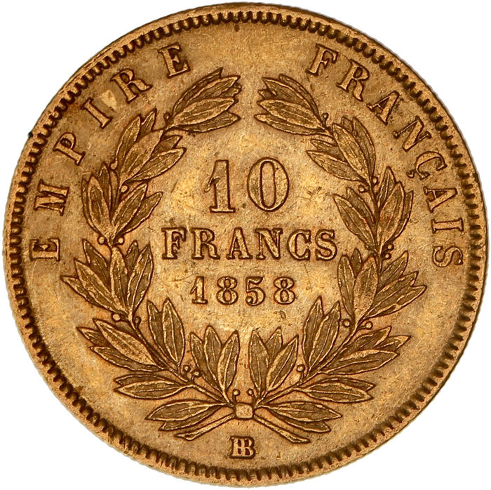 France - 10 Francs 1858-BB Napoleon III - Gold