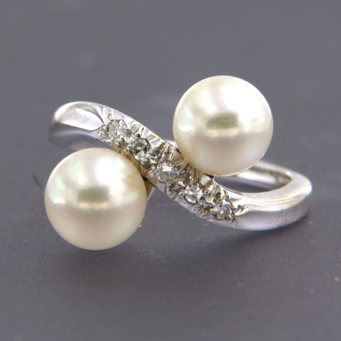 18 kt. White gold - Ring - 0.07 ct Diamond - Pearl