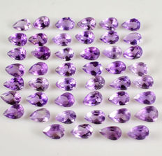 Amethysts - totalling 55.2 ct - 46 pieces