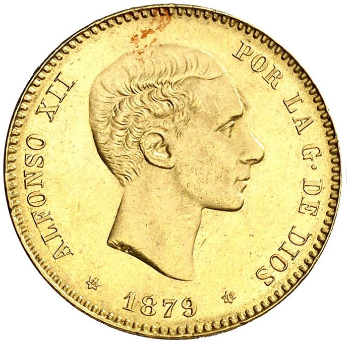 Spain - 25 Pesetas - Alfonso XII 1879*18-79 - Gold
