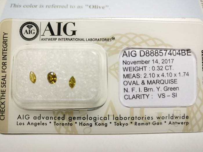 Triple of 3 Oval and Marquise cut diamonds total 0.32 ct F.I. Brownish Yellowish Green vs-si  -No Reserve