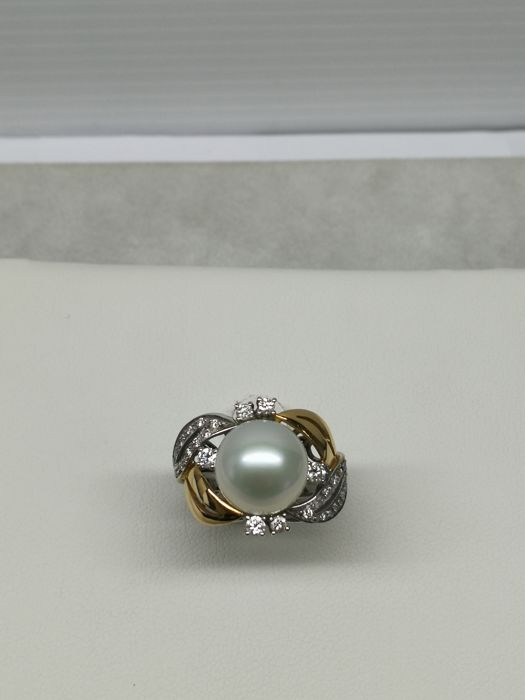 18 kt. Freshwater pearl, White gold, Yellow gold, 11.5 mm - Ring pearl - Diamond