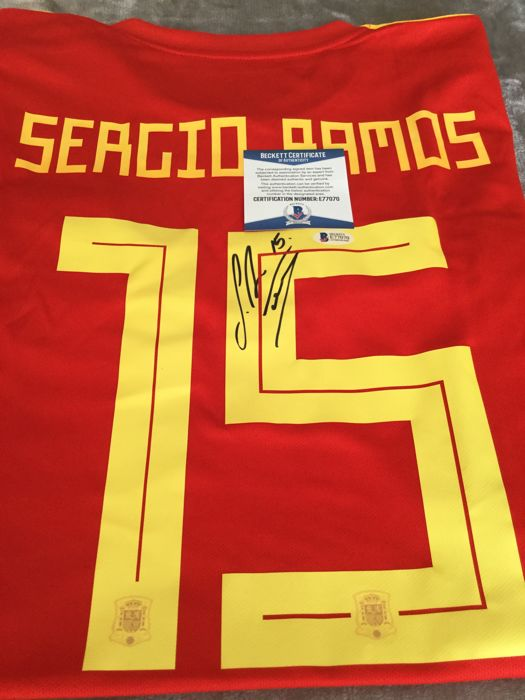 2018 - Spain shirt signed by Sergio Ramos with Beckett COA