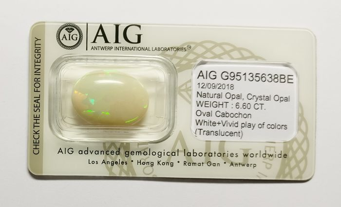 Opal White + Vivid  Play of colors 6.60 ct *** No Reserve ***