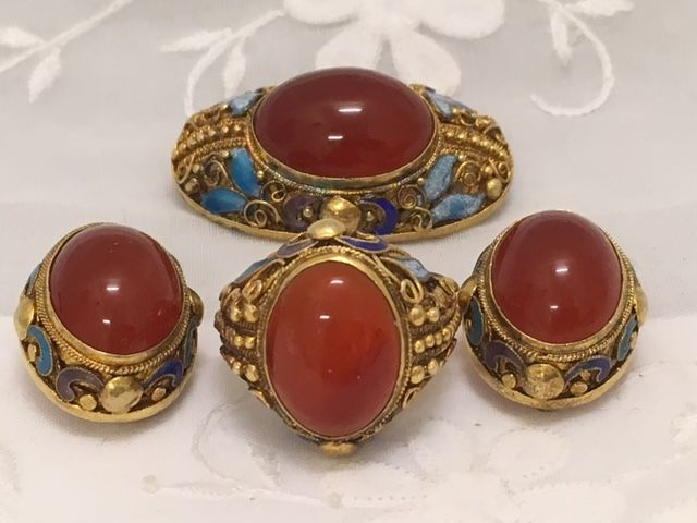 Antique silver set with carnelian and enamel inlay - China, ca. 1910