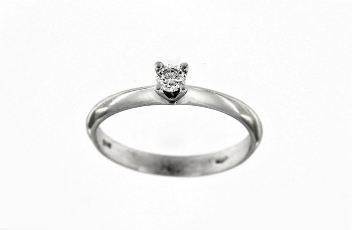 4-prong solitaire ring in 18 kt white gold - 0.15 ct diamond - SIze 16 (IT)