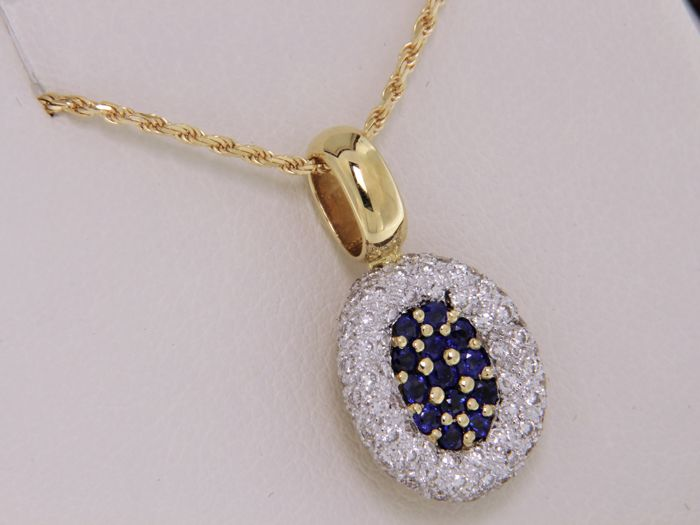 Magnificent jewellery pendant made from two-tone 18 kt gold - pendant: 15.5 x 13.0 mm - length 45 cm