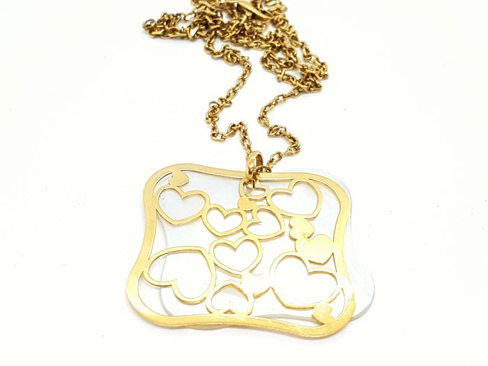 Chain necklace and Pendant - Hearts - Mother-of-Pearl - 18 kt yellow gold - Length: 63 cm