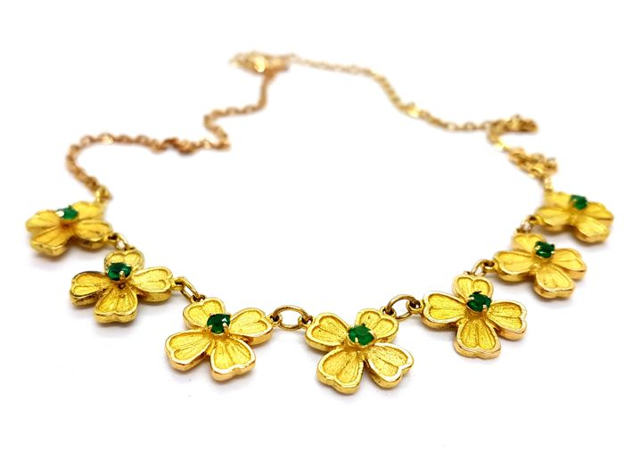 Necklace - 18 kt yellow gold - Chrysoprases of 0.42 ct - Length: 41 cm