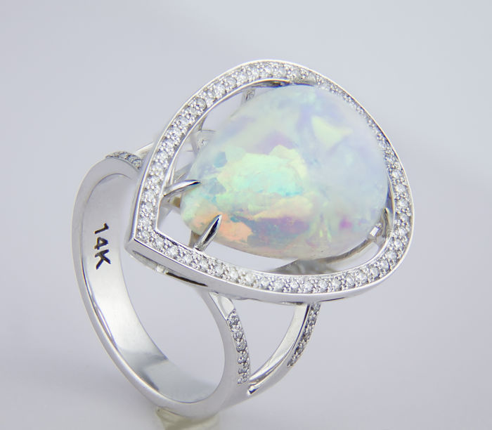 5.50 ct. White Opal And Diamonds White Gold Ring. Certified. Free resize.