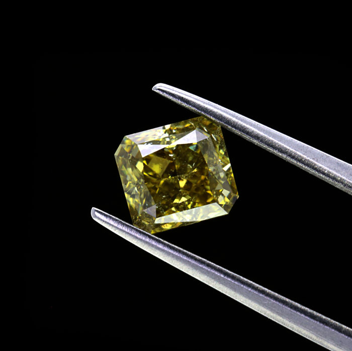Natural Fancy Dark Greenish Yellow Gray 1.53 ct. SI2 Cushion shape Diamond, GIA certified