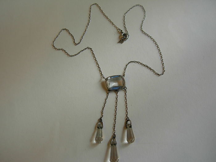 Silver necklace with white stones