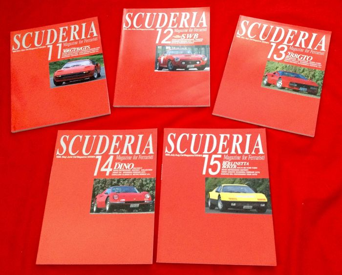 rare Ferrari Magazine - #11/22/13/14/15 - Scuderia -- Magazine for Ferraristi made in Japan - 1997-1998 (5 objetos)