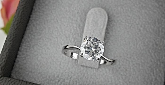 1.07 carat Round enhanced Diamond Solitaire Engagement Ring in Solid White Gold 14K