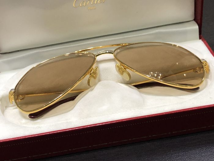 0c5a90fd48 Cartier - Santos Diamond Sunglasses - Vintage - Catawiki