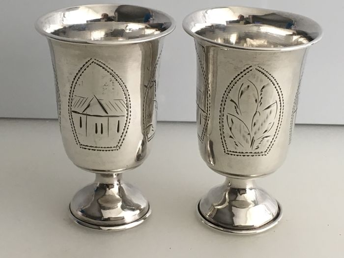 Victorian Sterling Silver Russian pair of beakers  - 2 - Zilver - Rusland - 1800-1900