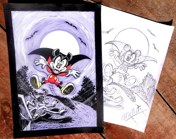 "Mickey - Original drawing and sketch by Millet - Mickey Mouse & Pluto ""Mickey Dracula scaring!"""