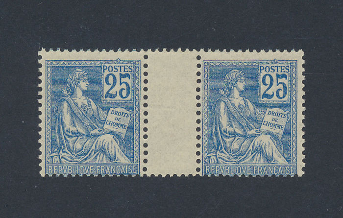 France 1900/1901 - Yvert 118 in gutter-pair