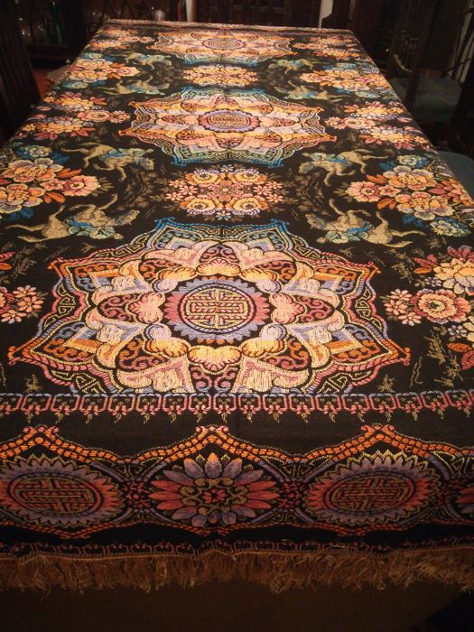 Silk thread embroidered cotton tablecloth Private collection from Portugal