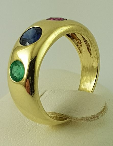 14 kt. Yellow gold - Gemstone Gold Ring - 585 Yellow Gold - Sapphire / Ruby / Emerald - 0.25 ct Sapphire - Ruby + emerald