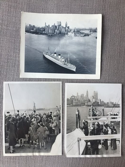 ACME Newspictures/ unknown - ( 3x ) New York Skyline / Harbour & Liner 1933/ 1940/ 1963