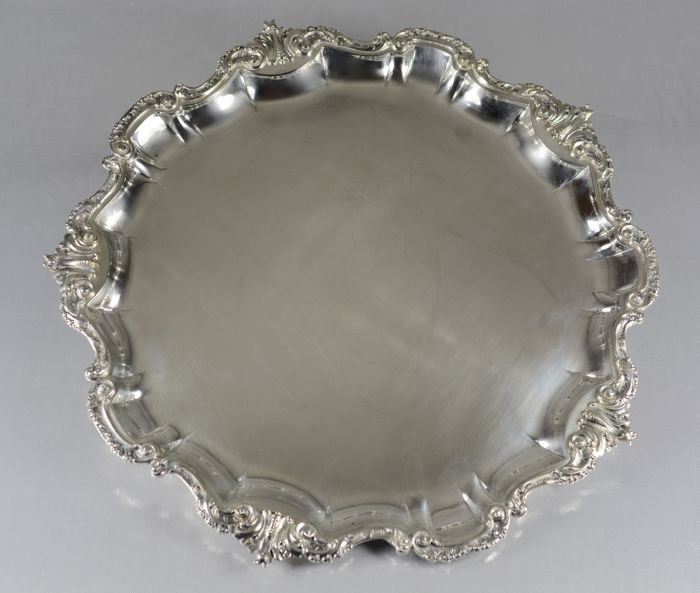 Silver tray with openwork design, Italy 20th century - silver 800/1000 - Italy - 1950-1999