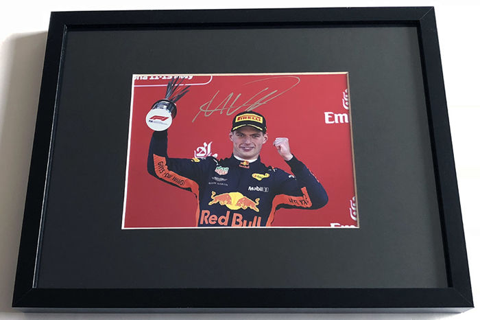 Framed photo,  authentic and personally hand signed by Max Verstappen