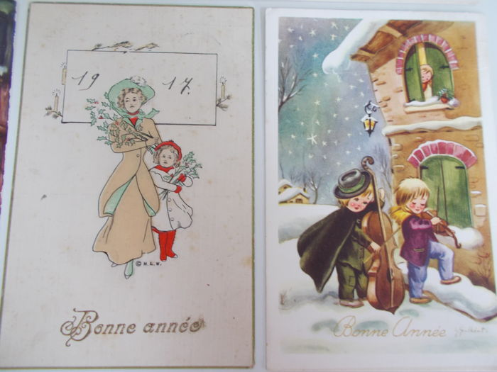 lot consisting of 90 circulated christmas and new year cards addressed to dutch and belgian families