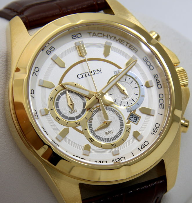 "Citizen - Chrono ""Leather - Gold"" - - ""NO RESERVE PRICE"" - - Herren - 2018"
