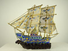 A large and fine cloisonné ship - China - second half of the 20th century