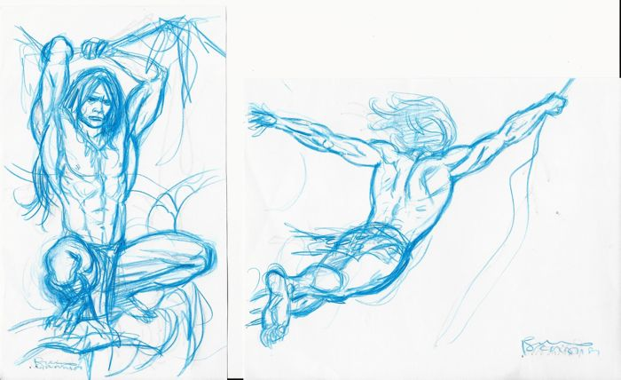 Tarzan - Bruno Brindisi - 2x original sketch - First edition